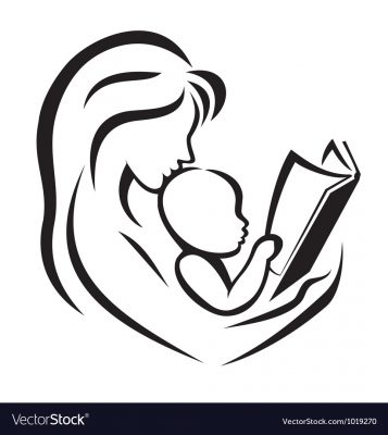 Mother And Child Reading The Book Vector 1019270
